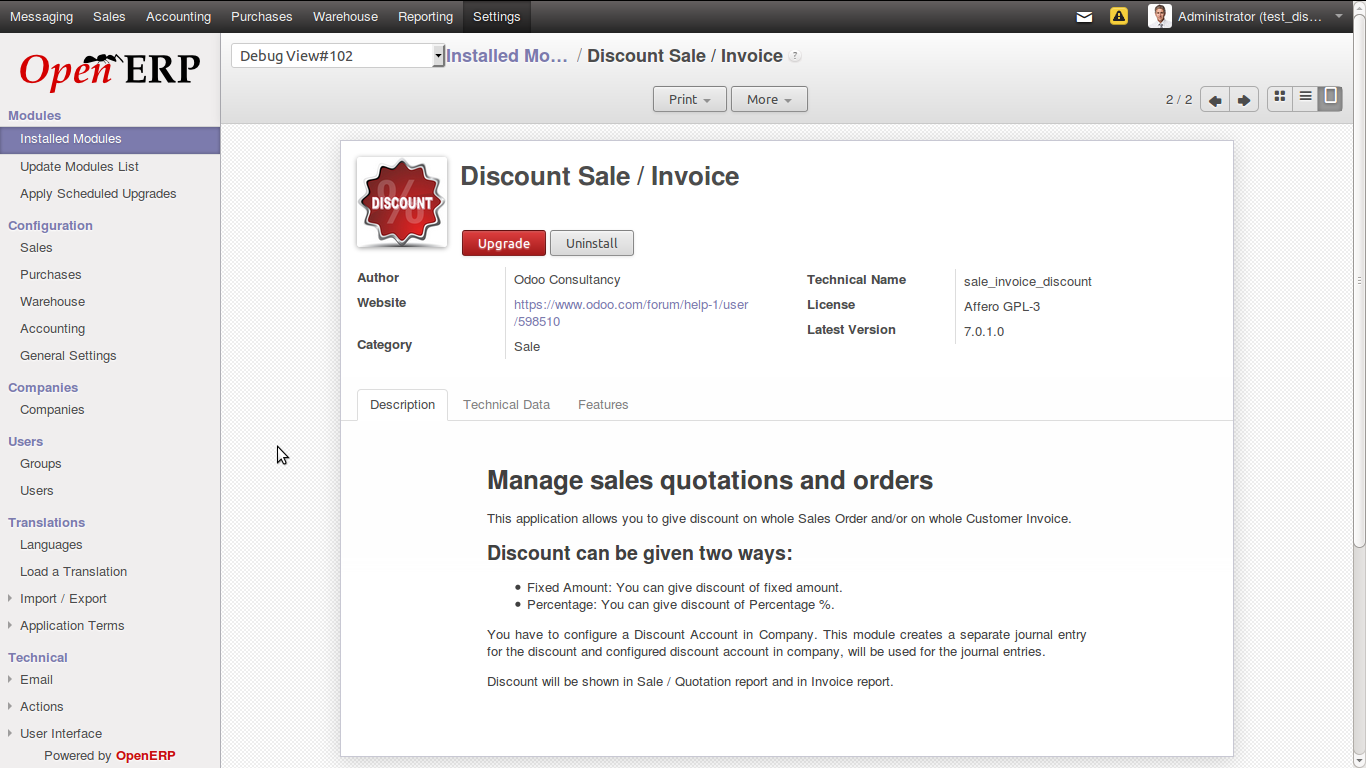 invoice discount odoo apps